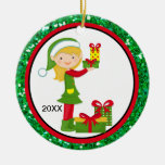 Adorable Elves Decorating Tree Christmas Ornament