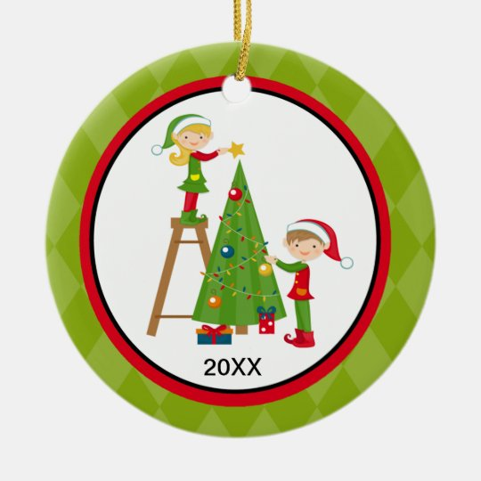 Adorable Elves Decorating Tree Christmas Ornament