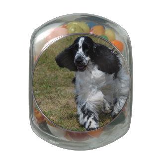 Adorable English Cocker Spaniel Glass Candy Jar