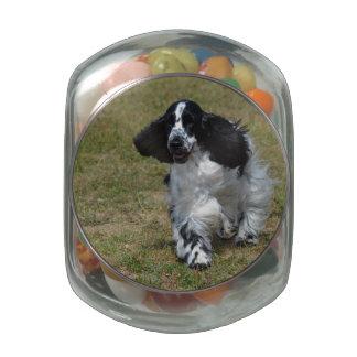 Adorable English Cocker Spaniel Glass Jar