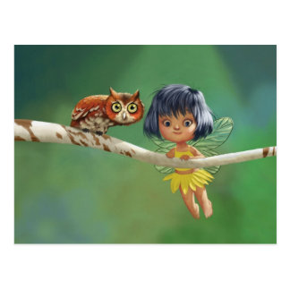 Adorable Fairy & Owl Postcard