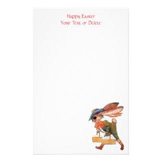 Adorable Fancy Dressed Easter Bunny and Egg Basket Stationery