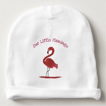 Beach Themed Adorable Feathery Custom Pink Flamingos Art Baby Beanie