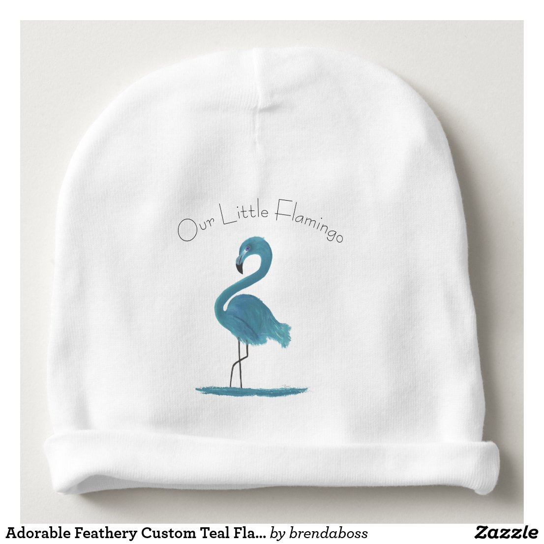 Adorable Feathery Custom Teal Flamingos Art Baby Beanie