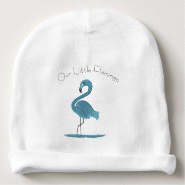 Beach Themed Adorable Feathery Custom Teal Flamingos Art Baby Beanie