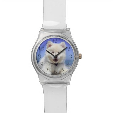 Adorable Finnish Lapphund at the beach Wrist Watch