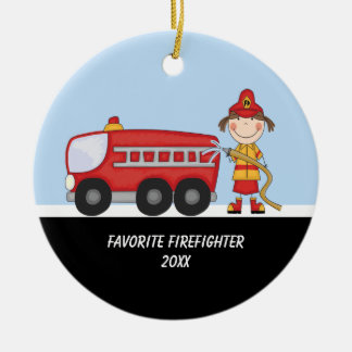Adorable Firefighter with Fire Truck Ornament
