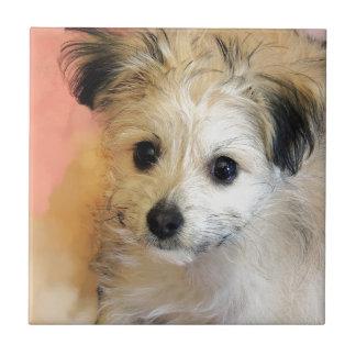 Adorable Floppy Ear Rescue Puppy Ceramic Tile