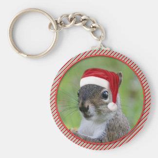 Adorable Florida Santa Squirre™ Wearing Santa Hat Keychain