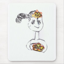 Adorable Flower Girl Mouse Pad