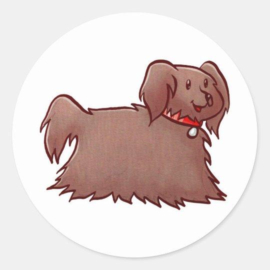 Adorable Fluffy Dog Classic Round Sticker