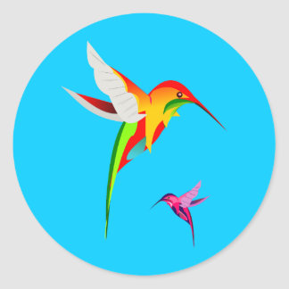 Adorable Flying Hummingbirds Classic Round Sticker