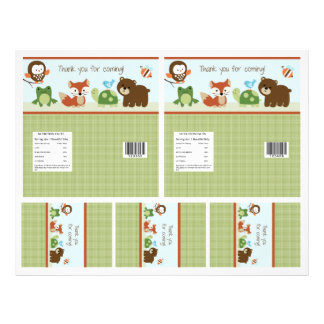"""Adorable """"Forest Animals"""" Candy Bar Labels 2 sizes Flyer"""