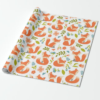 Adorable Fox and Floral Wrapping Paper