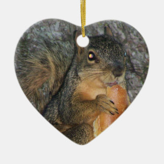 Adorable Fox Squirrel in a Tree Eating a Roll Christmas Ornament