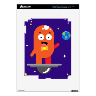 Adorable Friendly Surfing Alien Decals For iPad 3
