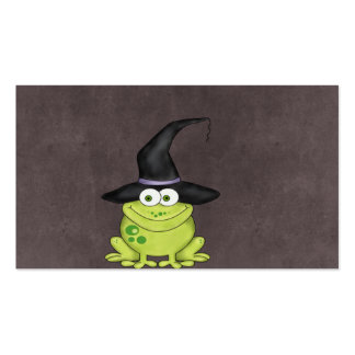 Adorable Frog in a Witches Hat Halloween Business Card