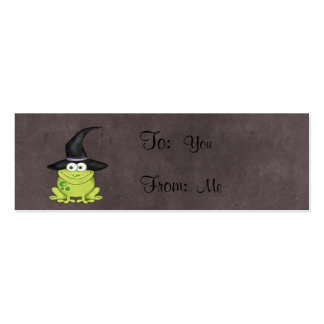 Adorable Frog in a Witches Hat Halloween Mini Business Card