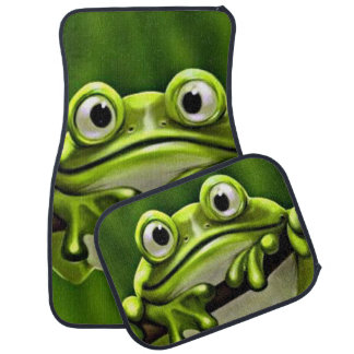Adorable Funny Cute Green Frog In Tree Car Floor Mat