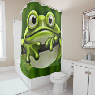 Adorable Funny Cute Green Frog In Tree Shower Curtain