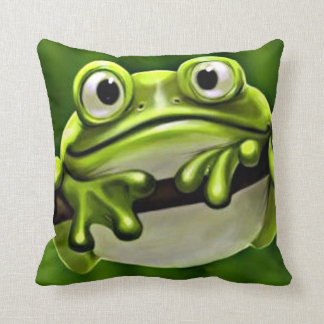 Adorable Funny Cute Green Frog In Tree Throw Pillow