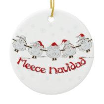 Adorable FUNNY Fleece Navidad Christmas Sheep Ceramic Ornament