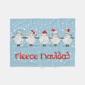 Adorable FUNNY Fleece Navidad Christmas Sheep Fleece Blanket