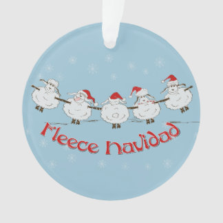 Adorable FUNNY Fleece Navidad Christmas Sheep Ornament