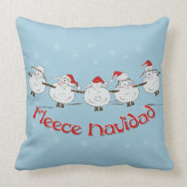 Adorable FUNNY Fleece Navidad Christmas Sheep Throw Pillow