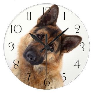 Adorable funny german shepherd portrait large clock