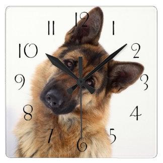 Adorable funny german shepherd portrait square wall clock
