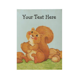 Adorable Furry Squirrel in Grass With Acorns Nuts Wood Poster