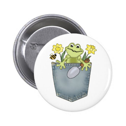 Adorable Gardening Frog with Daffodils Pinback Buttons