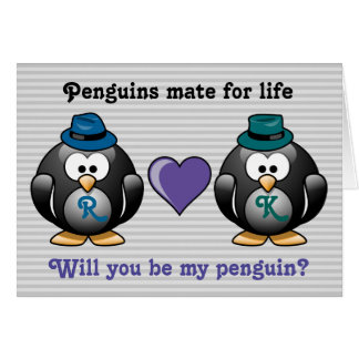 Adorable Gay Penguins Two Grooms Love Heart Hat Card