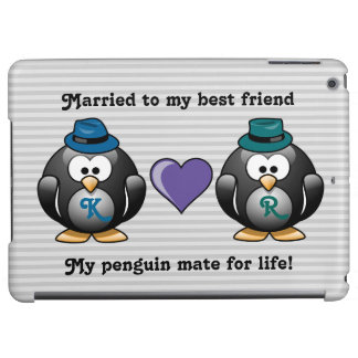 Adorable Gay Penguins Two Grooms Love Heart Hat Case For iPad Air