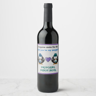 Adorable Gay Penguins Two Grooms Love Heart Hats Wine Label