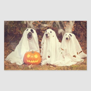 Halloween Themed Adorable Ghost Dog Halloween Sticker