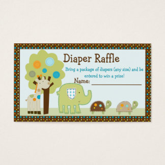 Adorable Giggle Gang Animals Diaper Raffle Tickets