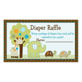 Adorable Giggle Gang Animals Diaper Raffle Tickets Business Card