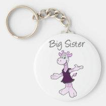 Adorable Giraffe Big Sister Keychain