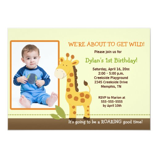 Adorable Giraffe *PHOTO* Birthday 5x7 Card