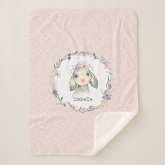 Adorable Girl Baby Lamb with Child's Name Sherpa Blanket