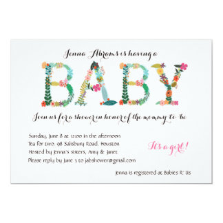 Adorable Girl baby shower invitation