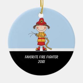 Adorable Girl Fire Fighter Ornament