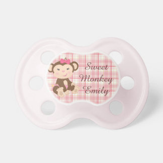 Adorable Girl Monkey in Pink Pacifiers