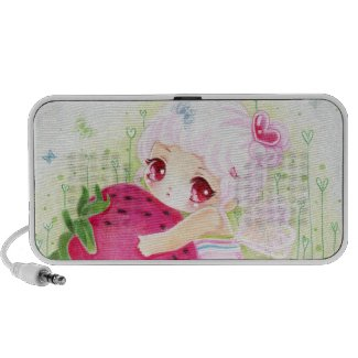 Adorable girl with strawberry - Doodle Speaker doodle