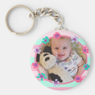 Adorable Girlie Personalized Baby Photo Key Chain
