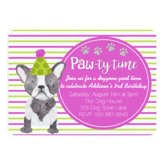Adorable Girl's Dog Puppy Birthday Invitation