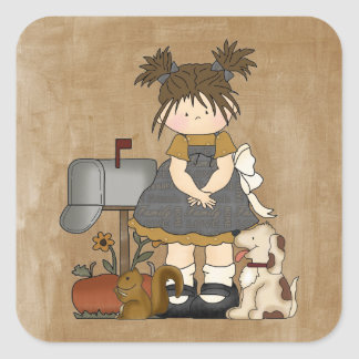 Adorable Girly Country Doll Square Sticker