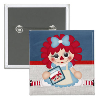 Adorable Girly Country Raggedy Rag Doll 2 Inch Square Button